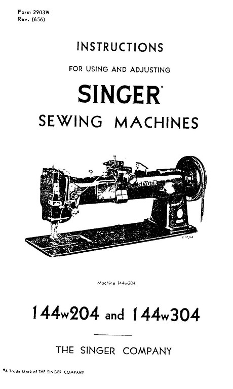 Singer 144W304 User's Manual / Instructions Book in PDF format
