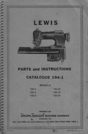 LEWIS 150-2, 150-3, 150-4, 150-32, 150-33, 150-34  User's Manual / Instructions Book in PDF format