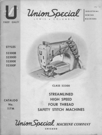 UNION SPECIAL STYLES: 52300 B, D, E, F  User's Manual / Instructions Book in PDF format