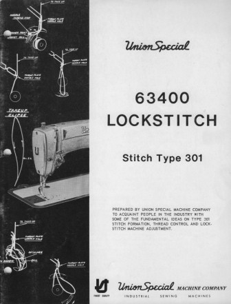 UNION SPECIAL 63400  User's Manual / Instructions Book in PDF format