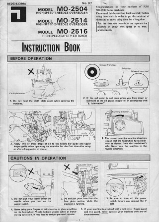 JUKI MO-2504, MO-2514, MO2516  User's Manual / Instructions Book in PDF format