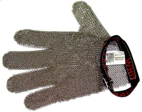 WHITING + DAVIS 5 FINGERS STAINLESS STEEL MESH SAFETY GLOVES