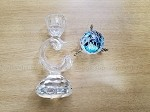 Swarovski Souvenir Crystal and One Swarovski Silver Crystal Baroque Candle Holder