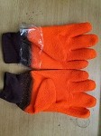 Orange Gloves / Orange fuzzy gloves with knit wrist